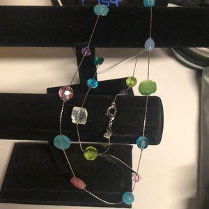 "Cookie Lee crystal quartz & cat""s eye necklace"
